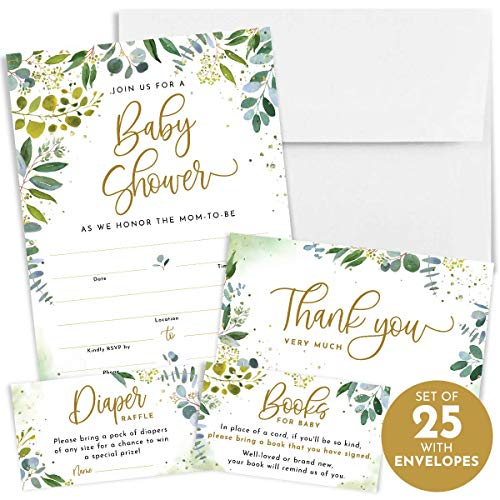 Invitation Baby Shower (Printperie 25 Greenery Baby Shower Invitation Set with Envelopes - Gender Neutral Blank Fill-in Invites for Boy or Girl - Includes Books for Baby, Diaper Raffle, and Thank You)