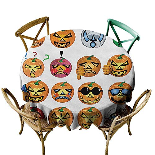 Wendell Joshua Pink Tablecloth 39 inch Halloween,Carved Pumpkin with Emoji Faces Halloween Inspired Humor Hipster Monsters Artwork,Orange Polyester Fabric Table Cloth -