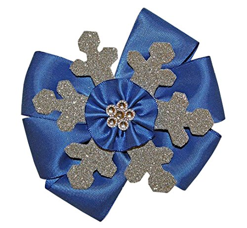 [WD2U Girls Sparkling Silver & Blue Winter Snowflake Hair Bow Alligator Clip USA] (Holiday Recital Costumes)