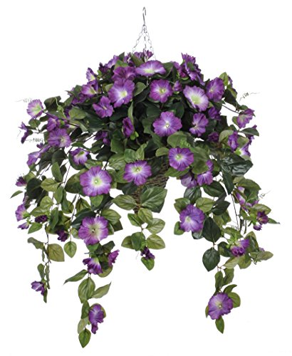 House of Silk Flowers Artificial Violet Petunia in Cone Hanging Basket