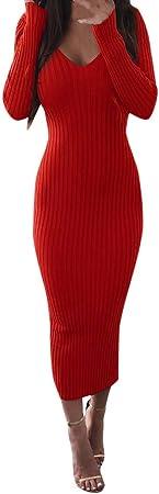 Vestido de Punto Fiesta Largo para Mujer Manga Larga Otoño Invierno,PAOLIAN Vestido Sexy Elegantes Ajustado Escote V Jerséis Suéter Casual Rayas Vestido de la Cadera Espalda Descubierta