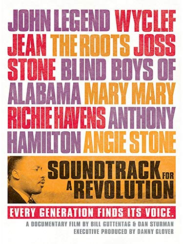 Film poster that lists names of musicians: John Legend, The Roots, Angie Stone, etc.