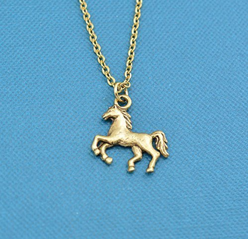 Little Girls Horse Charm Pendant in gold plated pewter on a stainless steel chain. Horse gifts. Horse necklace. Horse (Pewter Horse Pendant)
