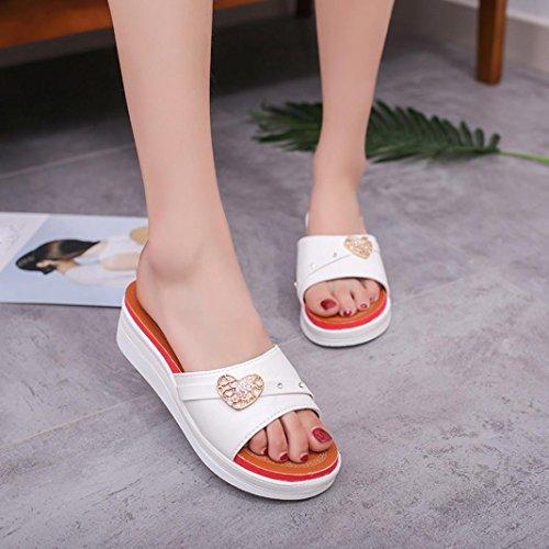 Damen Zehentrenner, Yogogo Sommer weiche Frauen Wedge Sandalen Böhmen Flip Flops flache Plattform Hausschuhe Weiß
