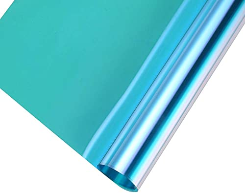 Transparent Decorative Window Film Anti UV Colorful Adhesive Vinyl Heat Insulation Solar Window Tinting Sheets Glass Film for Christmas Home Decoration, 35.4Inch x 16.5Feet, Blue