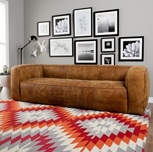 Contemporary Designed Italian Brown Leather Sofa