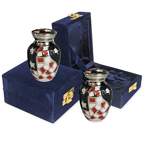 Patriotic Small Mini Keepsake Urns for Human Ashes - Set of 2 - For Veterans, First Responders and Patriots That Loved America - Find Comfort and Pride With These Urns - w Velvet Cases
