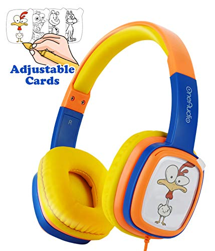 Kids On-Ear Headphones, OneAudio Comfortable 85dB Volume Limiting Wired Headsets Lightweight Customizable Cartoon Painting DIY with 3.5mm Jack Christmas and Birthday Gift for Toddler/Children/Airplane