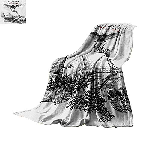 Halloween Weave Pattern Blanket Dead Skull Skeleton Out of The Grave and Flying Bat Hand Drawn Spooky Picture Summer Quilt Comforter 62