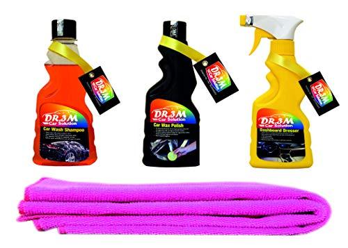 Dashboard Polish 250ml. + CAR Wax Polish 250ml.+ CAR WASH Shampoo 250ml.+ 1PC Pink CAR Microfiber Cloth.