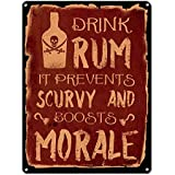 "Drink Rum it Prevents Scurvy and Boosts Morale ~ Pirate Decor ~ 9"" x 12"" Metal Sign ~ Man Cave, Brewery, Bar, Accessories & Wall Decor & Gifts for Men ~ Vintage Distressed Look (RK1043RKa_9x12)"