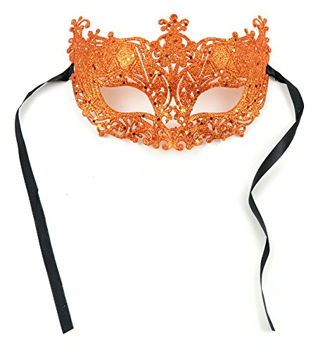 Glitter Masquerade Half Mask Orange 9 Inch W/Black Ribbon Ties 1Pc