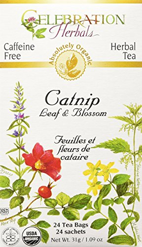 Celebration Herbals Organic Catnip Leaf and Blossom Tea Caffeine Free -- 24 Herbal Tea Bags