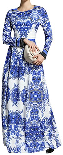 YUNY Womens Casual Fit Blue and White Porcelain Print Round Neck Long Evening Dress Blue L (Long Porcelain Neck)