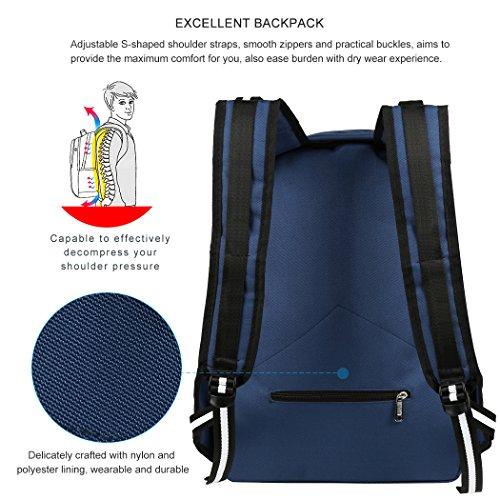 Vbiger Unisex Geschäft Rucksack Laptop Rucksack Schule Schultern Tasche Lässiger Tagesrucksack mit Sicherheit Coded Lock passt 15  Laptop Blau