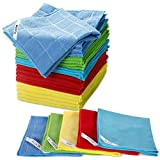 """Multi-Purpose Cleaning Cloths 25 PCS Clean Rags for Polish,Glass,Floor,Dust,Car Cleaning Cloths 13.2"""" x 13.2"""" Masthome"""