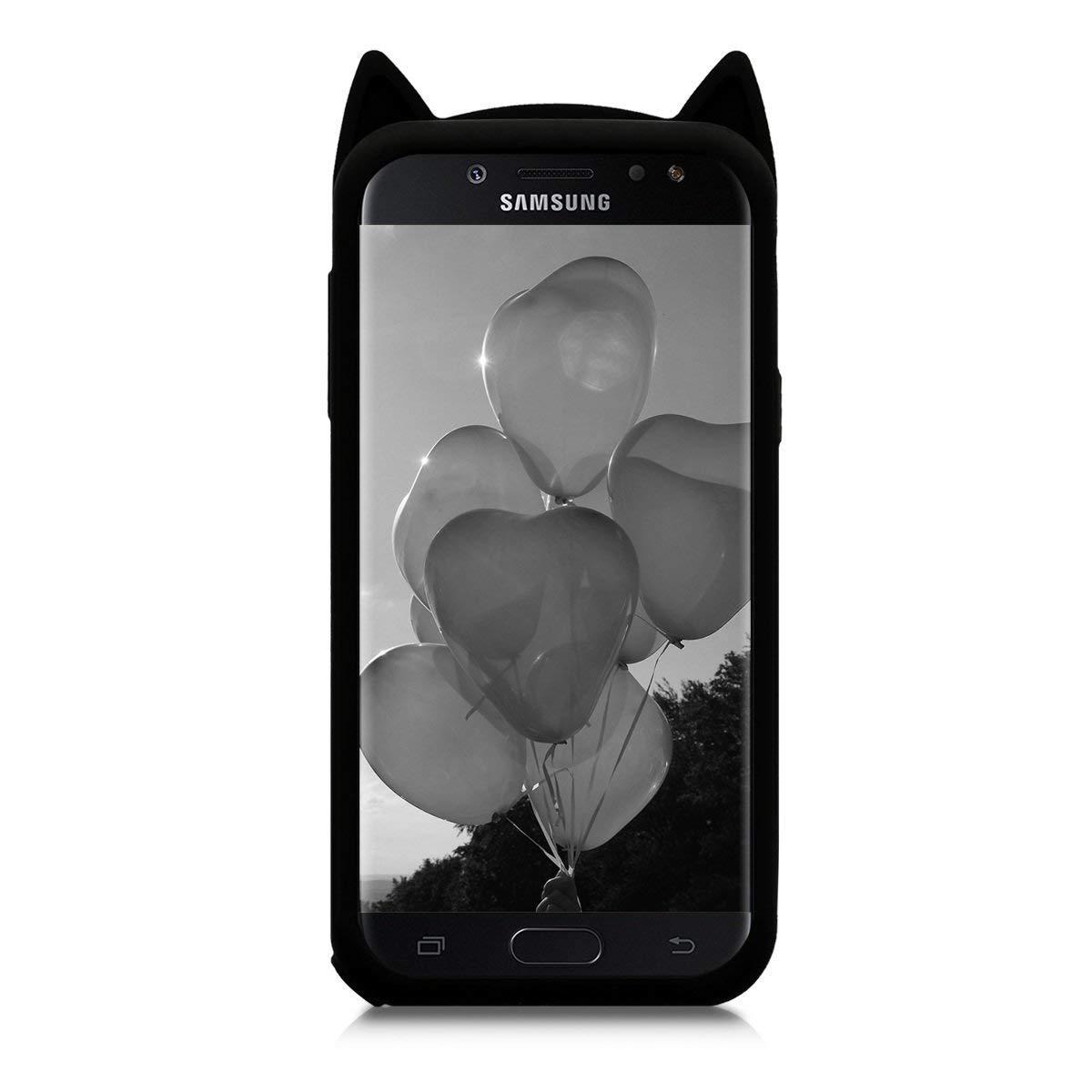 Beard Cat Case for Samsung Galaxy Amp Prime 3,J3 Eclipse 2/J3 Orbit/J3 Achieve J3 Emerge 2018 Soft Fun Kawaii Character Unique Girls Kids Silicone ...