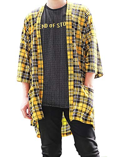Men's Oversized Plaid Kimono Cardigan Tartan Noragi Jacket