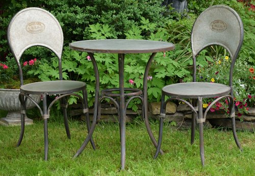 Classic Style Galvanized Iron Bistro Set, 1 Table, 2 Chairs
