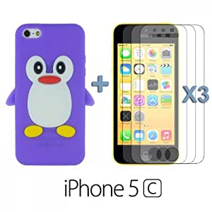 OnlineBestDigital - Penguin Style Silicone Case for Apple iPhone 5C - Purple with 3 Screen Protectors