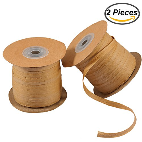 Resinta 218 Yards Raffia Ribbon Craft Raffia Matte Paper Gift Packing Twine 1/4 Inch Wide for Christmas Decoration,Wrapping Gifts, Hanging Tags, DIY,2 Rolls(Brown) - Brown Raffia