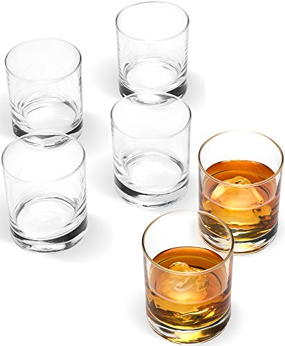 "Paksh Novelty 2 ¾"" x 3"" Italian Weighted Bottom Small Old Fashioned Whiskey Glasses for Wine, Scotch, Cocktails, Juice, and Water - [6 Piece Set] 6 ½ Ounce"