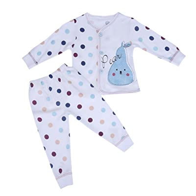 2 pcs/lot Infant bébé Motif de points doux Pyjama Homewear Top + Pantalon (66)
