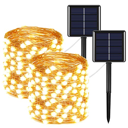 2-Pack Solar String Lights Outdoor 400LED, Super Bright 8 Modes Solar Fairy Lights with Much Bigger LED lamp Beams, Waterproof Fairy Twinkle Lights for Ramadan Decorations (Warm White)