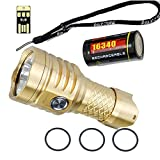 MecArmy PT16 Brass BUNDLE with Key Chain LED Flashlight 1200 Lumens, Rechargeable 16340 Battery, Lanyard, and Mini USB Light