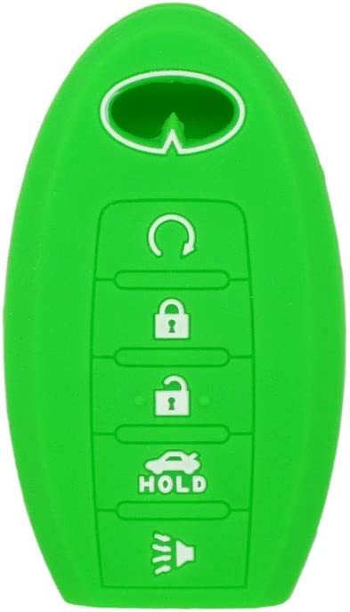 SEGADEN Silicone Cover Protector Case Skin Jacket fit for INFINITI Q60 QX80 JX35 5 Button Smart Remote Key Fob CV4506 Light Green