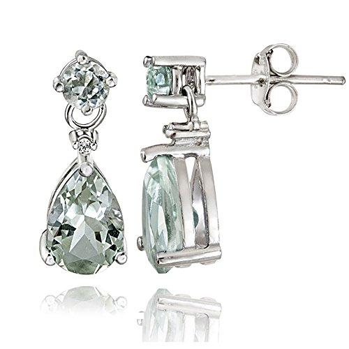 Sterling Silver Green Amethyst Teardrop Dangle Earrings