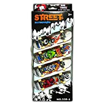 TOPJIN Children Kids 4 Pcs Pack Mini Finger Board Skateboard Toy as Gift Box