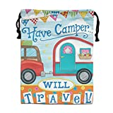 CMTRFJ Personalized Drawstring Bag-Happy Campers Holiday/Party/Christmas Tote Bag