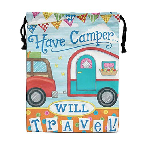 CMTRFJ Personalized Drawstring Bag-Happy Campers Holiday/Party/Christmas Tote Bag by CMTRFJ