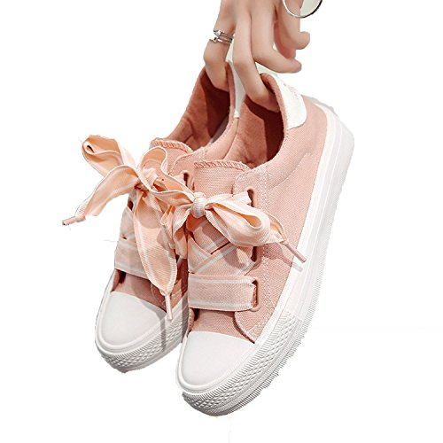 Canvas Sneakers Women Pink Shoes with Ribbon2018 New Harajuku Wind Shoes Fashion Flat Students Shoes,Pink,6.5