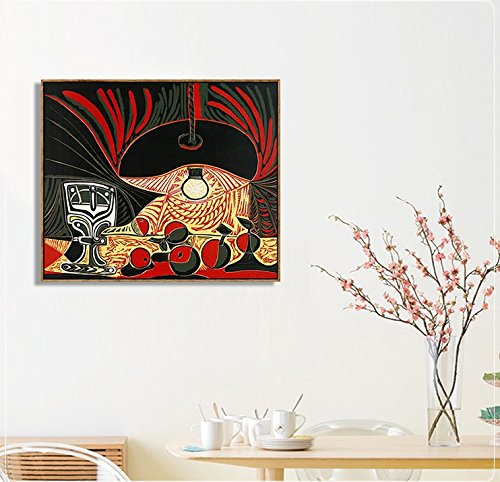 Framed Stretch Canvas Still Life Under the Lamp by Pablo Picasso ...