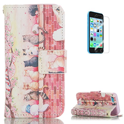 iPhone 5C PU Leather Wallet Case [Free Screen Protector],KaseHom Pink Flower Cute Cats Design Folio Flip Magnetic Stand Protective Case Cover for Apple iPhone 5C (Alice In Wonderland Guards)