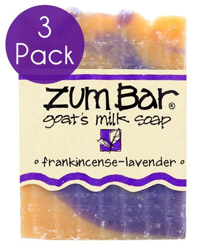 Indigo Wild Zum Bar Goat's Milk Soap - Frankincense and Lavender 3 Pack ()