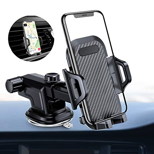 VANMASS Car Phone Mount, Dashboard Windshield Air Vent Cell Phone Holder for Car, Strong Stick Suck, One-Touch Design, Car GPS Cradle Compatible with iPhone Xs Max XR X 8 7 ()