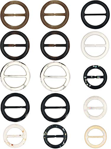 (Mayam Plastic Round Tee Shirt Clips Scarf Clips Ring Fashion Accessories, 11 Colors, 15 Pieces )