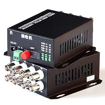 UG A Pair of 8 Channel Video Optical Converter Analog Fiber Optic Video Optical Transmitter & Receiver for CCTV Security(A Pair of Gigabit Ethernet Media Converter)