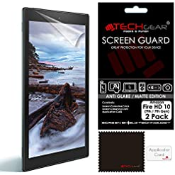 TECHGEAR [Pack of 2] Anti Glare Screen Protectors for All-New Amazon Fire HD 10 with Alexa (7th Gen / 2017) – Premium Matte Screen Protector Covers With Cleaning Cloth + Application Card (Fire HD10)