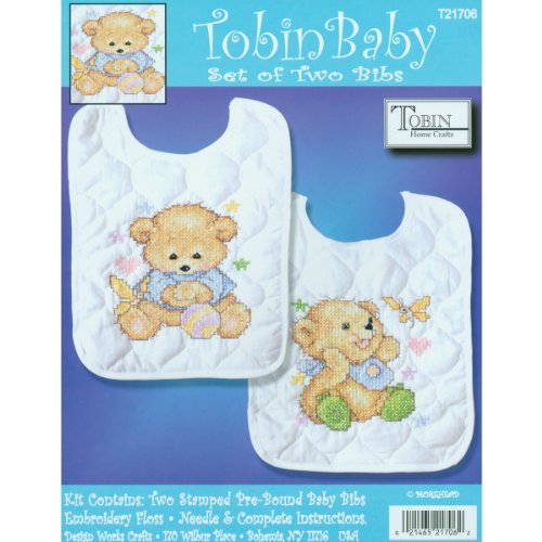 "Brand New Baby Bears Bib Pair Stamped Cross Stitch Kit-8""""X1"