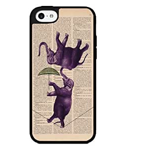 Whimsical Purple Circus Elephants Walking Tightrope on Book Page Background Hard Snap on Phone Case (iPhone 5c)