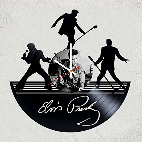 ELVIS PRESLEY Vinyl Record Wall Clock - Get unique Garage wall decor - MUSIC- Gift ideas for friends, teens ROCK n ROLL KING– POP ROCK MUSIC Unique Modern Art (Elvis Presley Pop Art)