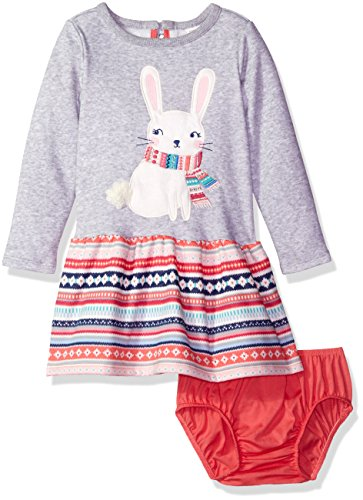 Gymboree Toddler Girls' Grey Bunny Fleece Dress, Cozy Heather, 5T