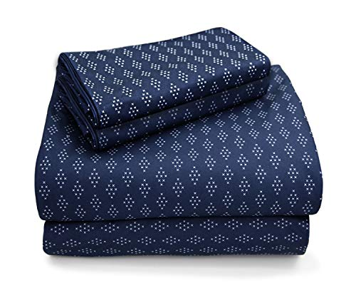 MARQUESS Microfiber Flannel Sheet Set-Ultra Soft & Comfortable Printed 4 Pieces Sheet, Breathable & Luxury Warm Bedding Collection, Fade Resistant & Easy Care (Queen, Navy Shining)