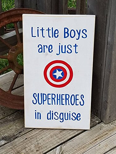 (Superhero Sign Captain America Wood Sign Little Boys are just Superheroes in Disguise Superheroes Kids Room Decor Decor Wooden Sign)