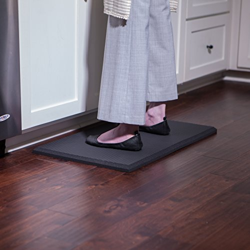 Extra Soft One Inch Standing Desk Anti Fatigue Mat and Kitchen Floor Mat - Our Softest Thickest Fatigue Mat that Uses Air Soft Foam. Stable Soft Comfort Mat, Black 30'' x 18'' by iPrimio (Image #4)