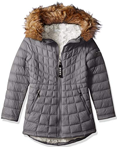 DKNY Girls' Big Faux Fur Lined Jacket with Glacier Shield, Grey, 14/16